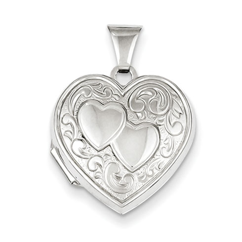 Sterling Silver 5/8in Two Hearts Locket