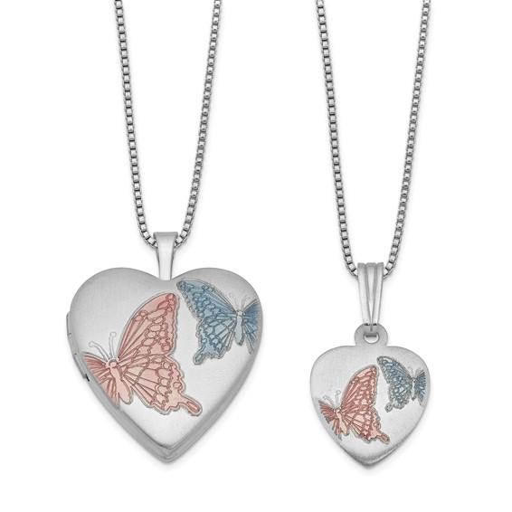Sterling Silver Pink Blue Enamel Butterflies Locket Set
