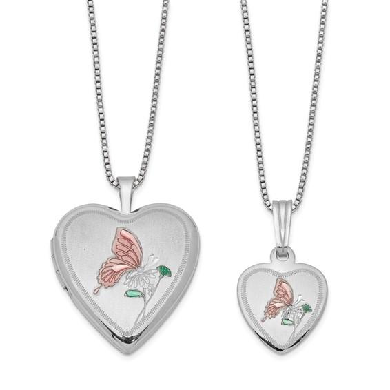 Sterling Silver Pink Enamel Butterfly Locket Set