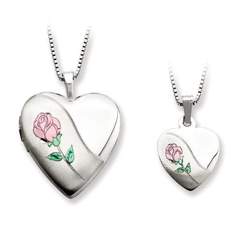 Sterling Silver Pink Green Rose Locket Set