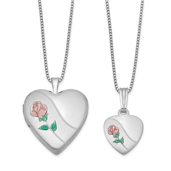 Sterling Silver Pink Green Rose Locket Set