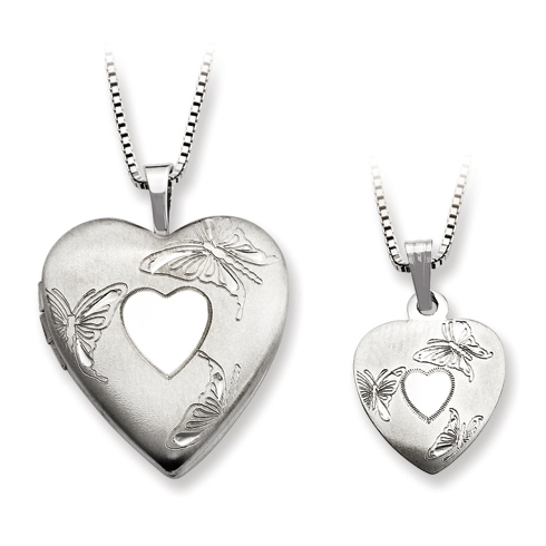 Sterling Silver Heart and Butterflies Locket Set