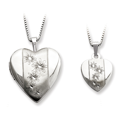 Sterling Silver Flowers Locket Set with Satin Finish