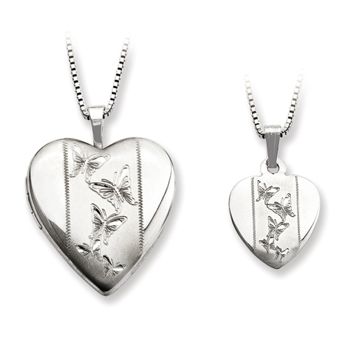 Sterling Silver Butterflies Dance Locket Set