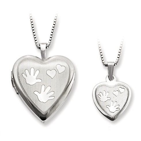 Sterling Silver Hands and Hearts Locket Set