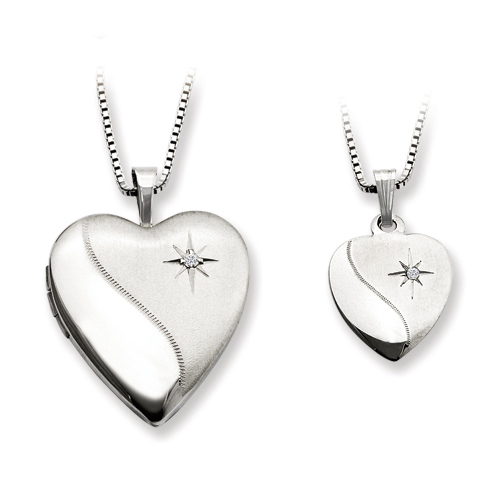 Sterling Silver Diamond Heart Locket Set