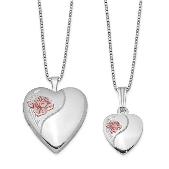 Sterling Silver Pink Rose Locket Set