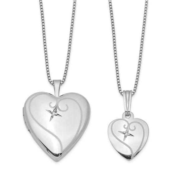 Sterling Silver Diamond Fancy Heart Locket Set