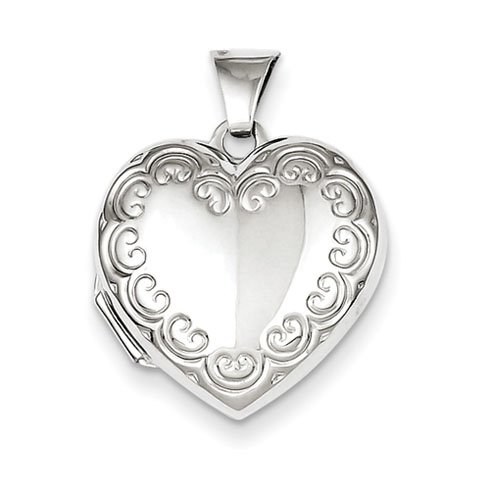 Sterling Silver 5/8in Patterned Heart Locket