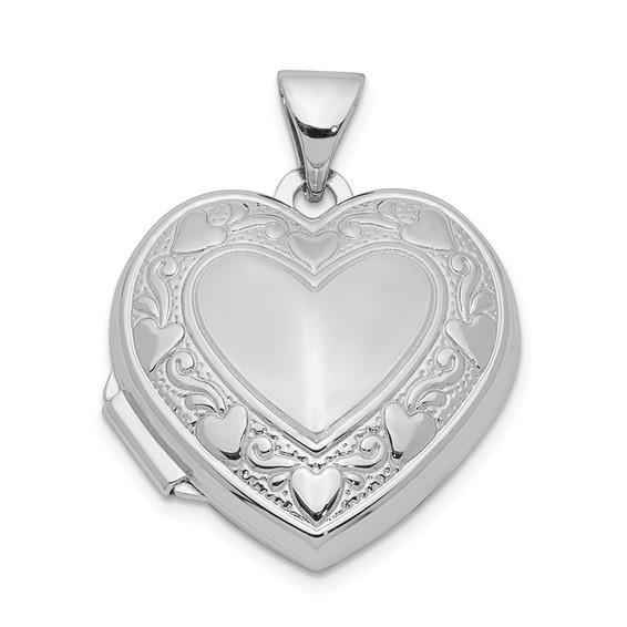 Sterling Silver 5/8in Patterned Heart Locket