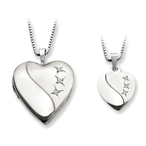 Sterling Silver Heart Locket Set with Diamonds