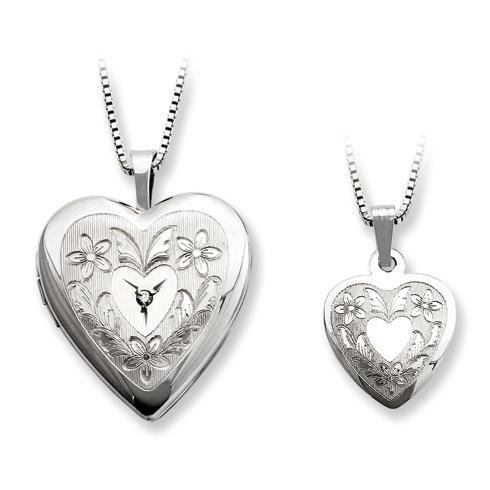 Sterling Silver Diamond Floral Heart Locket Set