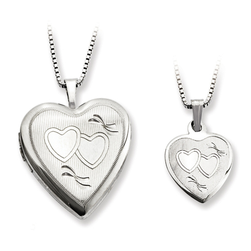 Sterling Silver Engraved Hearts Locket Set