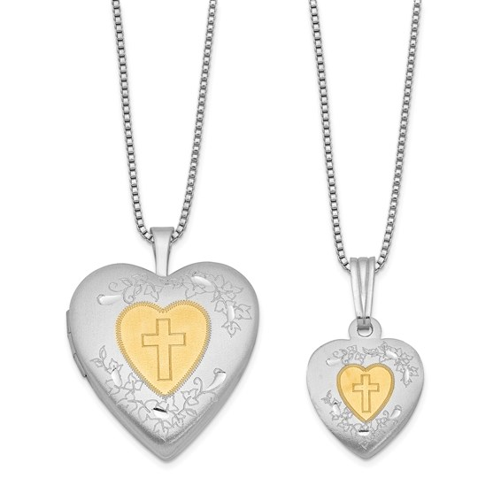 Sterling Silver Gold-Plated Heart Cross Locket Set