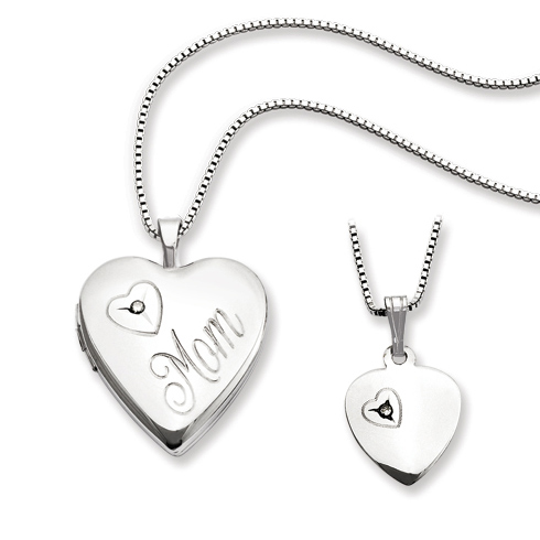 Sterling Silver Diamond Mom and Daughter Heart Locket Set