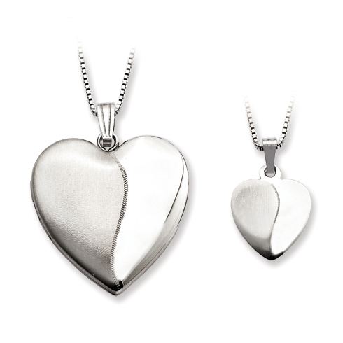 Sterling Silver Polished Satin Locket Set
