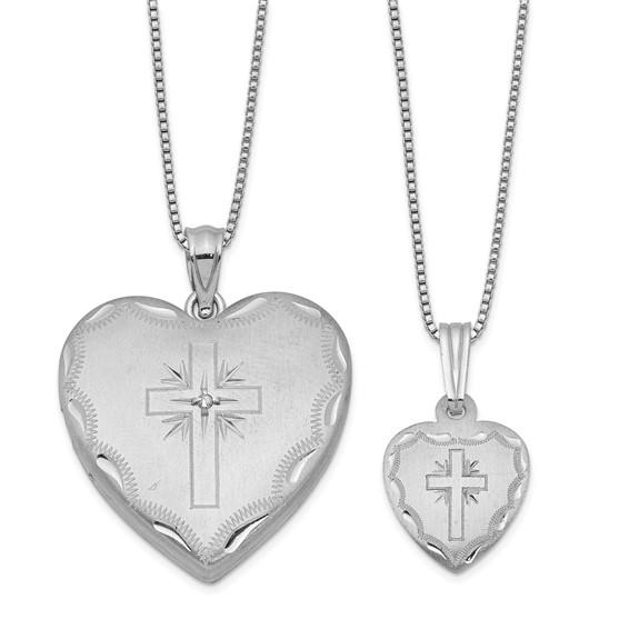 Sterling Silver Diamond Cross Heart Locket Set