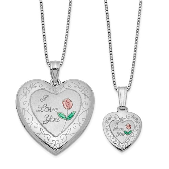 Sterling Silver I Love You Pink Green Rose Locket Set