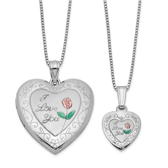Sterling Silver I Love You Pink Green Rose Locket Set