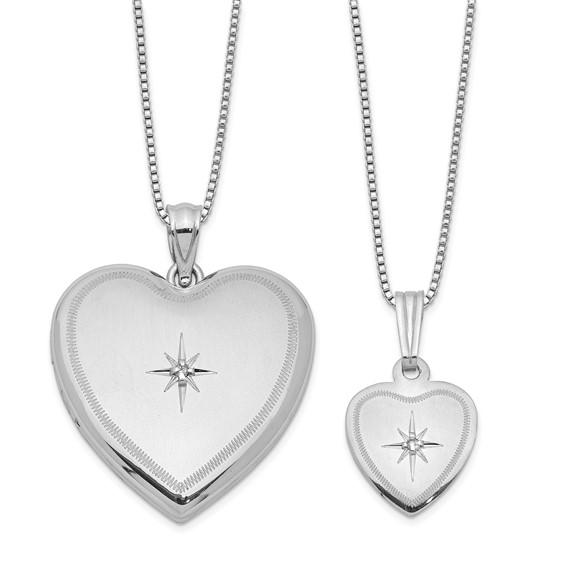 Sterling Silver 1in Diamond Heart Locket Set