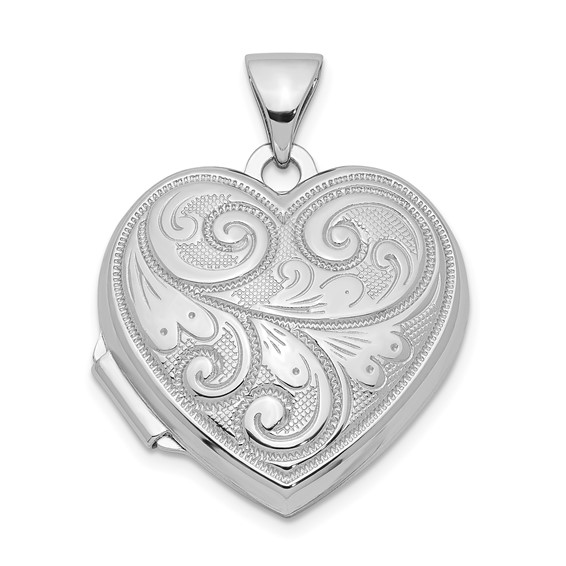 Sterling Silver 5/8in Scrolled Heart Locket
