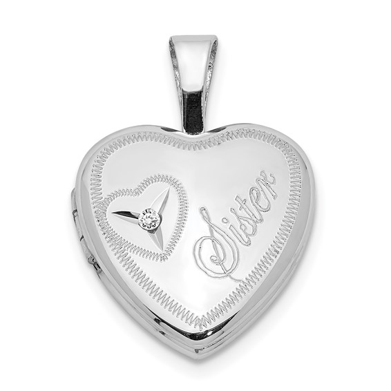 Sterling Silver Sister Heart 1/2in Heart Locket with Diamond Accent