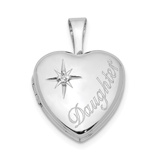 Sterling Silver Daughter 1/2in Heart Locket with Diamond Accent