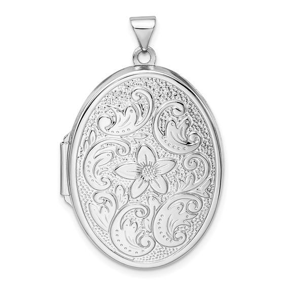 Sterling Silver 1 1/4in Oval Fancy Floral Locket