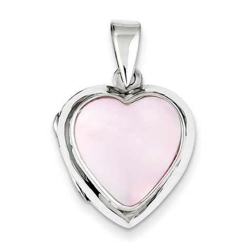 Sterling Silver Pink Shell 3/4in Heart Locket