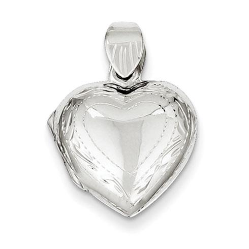 Sterling Silver 9/16in Domed Heart Locket