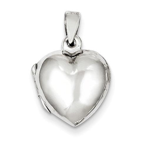 Domed Heart Locket 1/2in - Sterling Silver