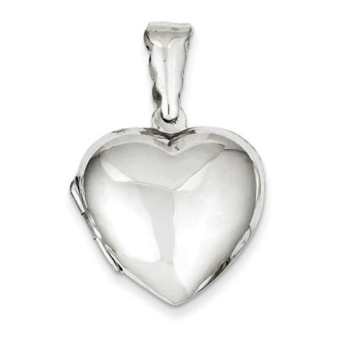Domed Heart Locket 3/4in - Sterling Silver