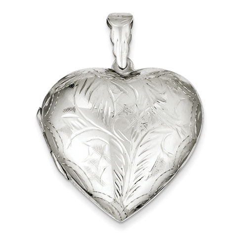 Sterling Silver 1 1/4in Large Domed Heart Locket