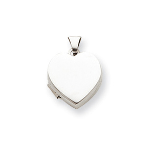 Sterling Silver Smooth Heart Locket 1/2in