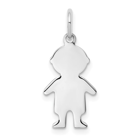 Sterling Silver Engravable Small Boy Figure Charm
