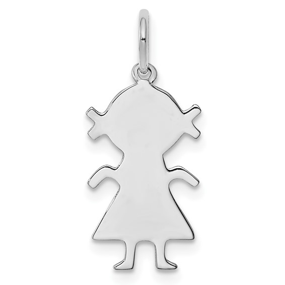Sterling Silver 9/16in Engravable Girl Charm