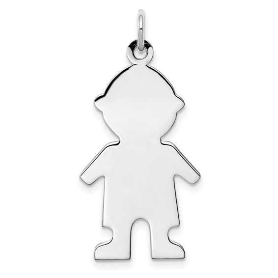 Sterling Silver 15/16in Engravable Boy Disc Charm