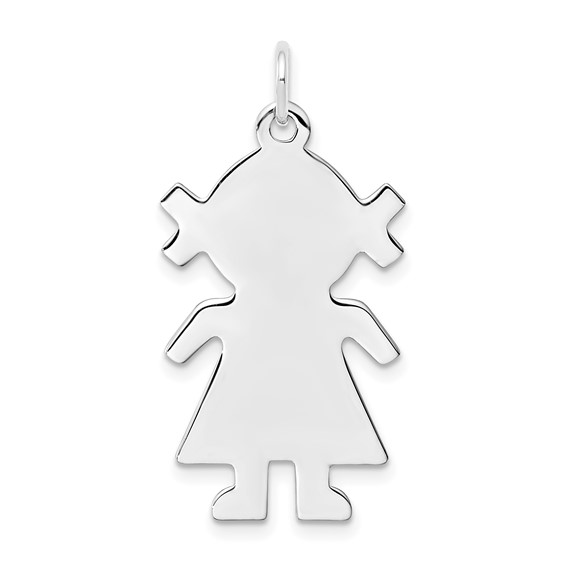 Sterling Silver Engravable Little Girl Disc Charm