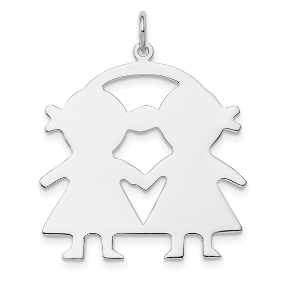 Sterling Silver 1in Engravable Girl-Girl Disc Charm