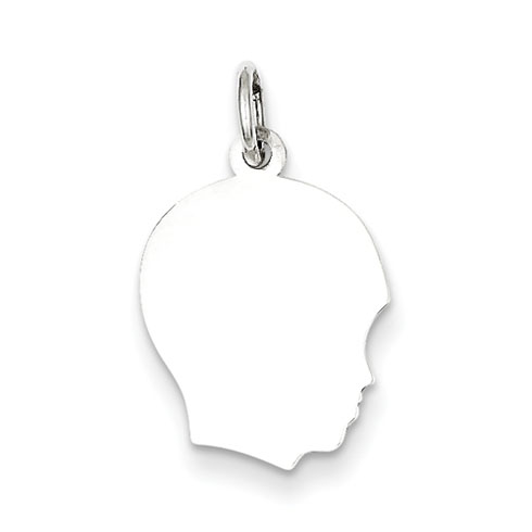 Sterling Silver 5/8in Engravable Boy Profile Charm
