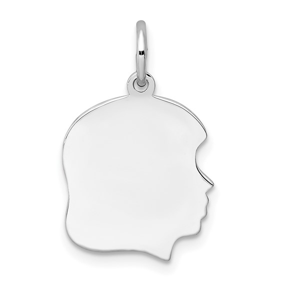 Sterling Silver Engravable Girl Profile Charm 1/2in