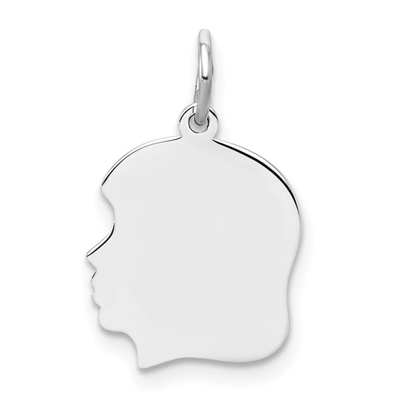Sterling Silver 1/2in Engravable Girl's Face Charm