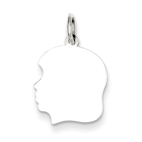 Sterling Silver 1/2in Engravable Girl Charm