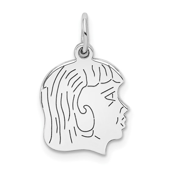 .035in thick Silver Engravable Girl Charm