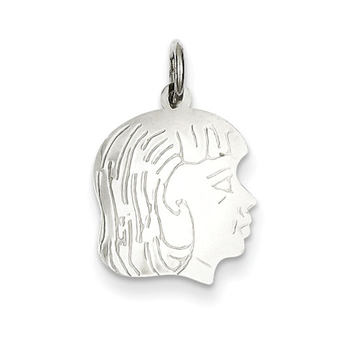 .018in thick Silver Engravable Girl Charm