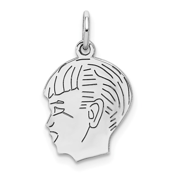 .018in thick Silver Engravable Boy Charm