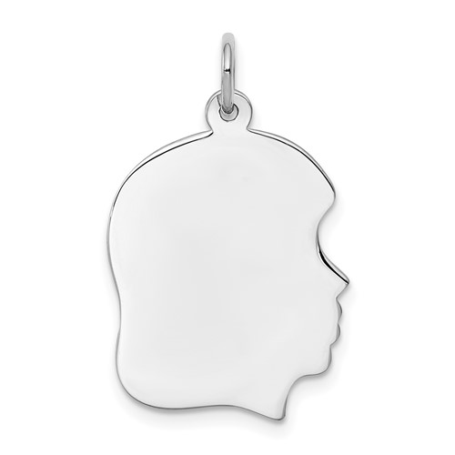 Sterling Silver 3/4in Engravable Girl Charm