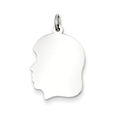 Sterling Silver 3/4in Engravable Girl Disc Charm