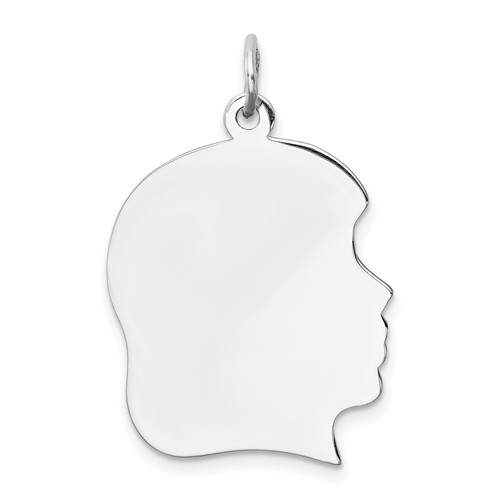 Sterling Silver Smooth Engravable Girl Disc Charm 7/8in