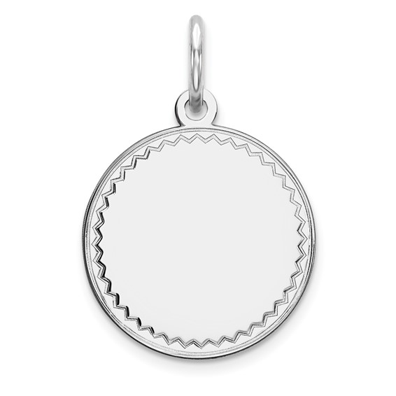 Sterling Silver 1/2in Engravable Round Charm with Fancy Edges
